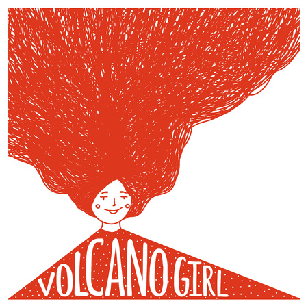 Vector illustration with woman with lettering text - Volcano Girl. Doodle style typography poster Illusztráció