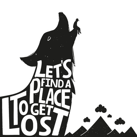 typography poster with wild animal and nature landscape