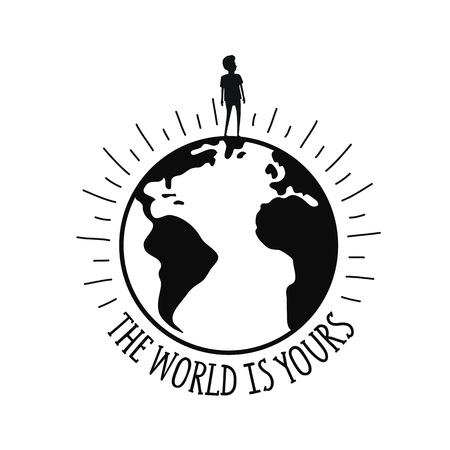 The world is yours lettering quote. Inspirational typography poster Illustration