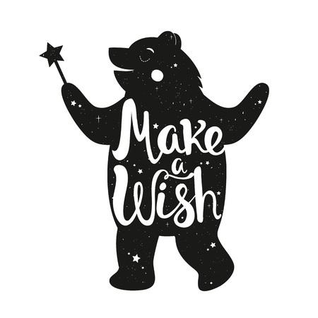 Inspirierende kindliche Illustration, trendiges monochromes magisches Druckdesign mit wilden Tieren und handgeschriebenen Wörtern