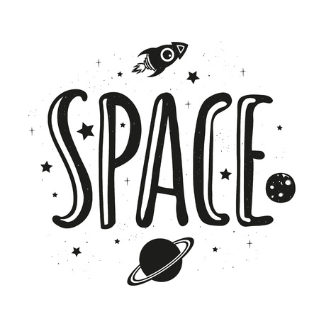 Inspiration and motivation illustration with stars, rocketship, saturn and moon. Home decoration design, t-shirt print Çizim
