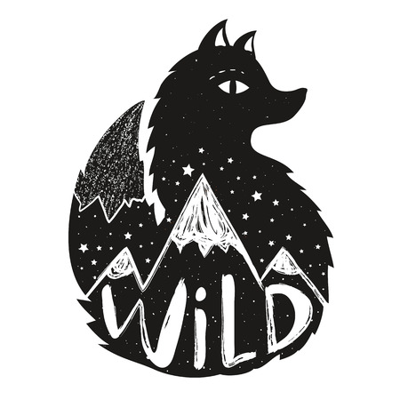 Typography poster with lettering word - Wild. Print design, home decoration with animal, stars and hills Illustration