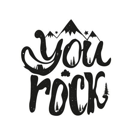 Inspirational typography poster with clouds, stars, pine tree and mountains. Funny and trendy vintage print design