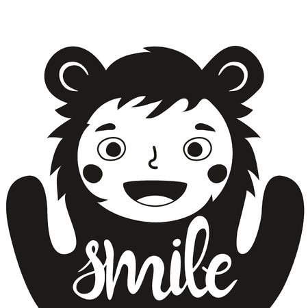 Funny monochrome vector illustration with cute child in bear costume and word - Smile. Childish typography poster with quote. Greeting card design, t-shirt print, children invitation template