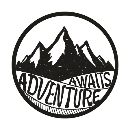 Adventure Awaits. Lettering inspiring typography poster with text, stars and mountains. Vintage style monochrome vector illustration isolated on white background