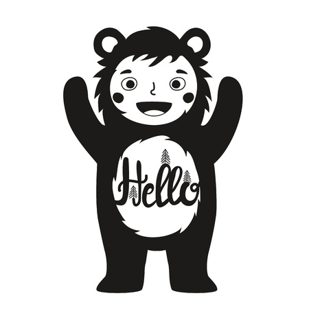 Funny vector illustration with cute child in bear costume and word - hello. Typography poster with quote. Greeting card design, t-shirt print, children invitation template