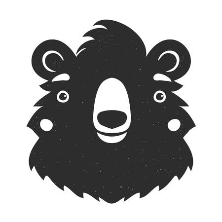 Illustrazione vettoriale in bianco e nero con testa di orso isolata Vettoriali