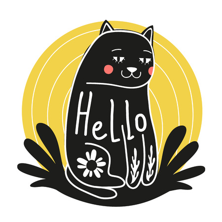 Funny doodle art with cartoon cat that says hello. Floral elements, pink cheeks and yellow background. Vector illustration with animal for invitations design, birthday cards. Smiley face kitty