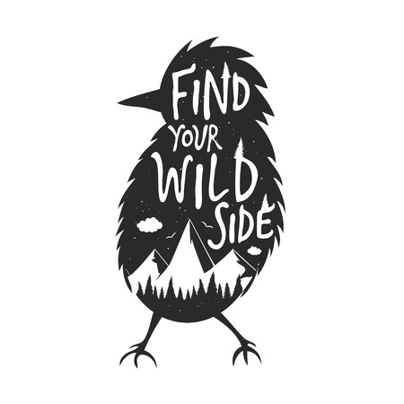 Find your wild side. Inspirational and motivational illustration with lettering quote Vectores