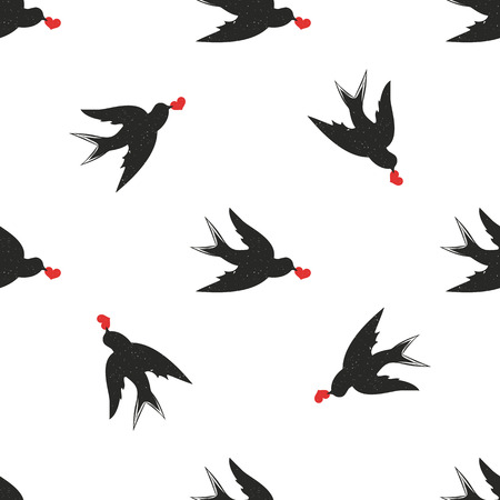 Wallpaper with birds and hearts 向量圖像
