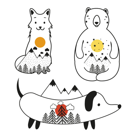 Isolated animals vector set. Illustration with bear, fox and dog with mountains and forest inside. Typography poster design, print templates