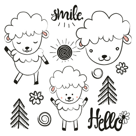 Cute vector set with sheep, sun, pine trees, flowers and words. Hello and Smile. Hand drawn style animals