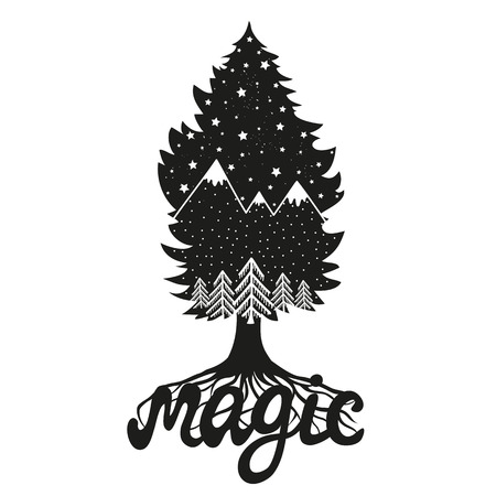Vector hand drawn style typography poster with word magic. Tree silhouette with mountains,pine forest and stars inside. Inspiration black and white illustration