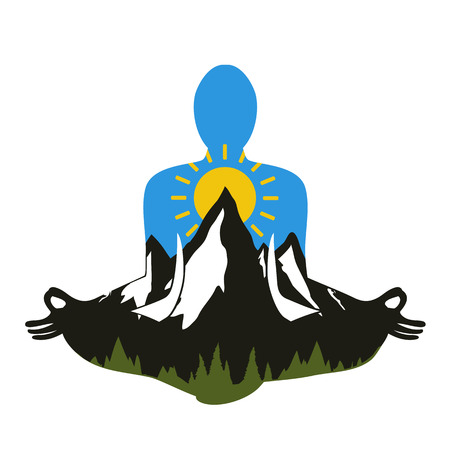 Vector illustration with man silhouette meditates in lotus pose. Pine forest, mountains, sun and blue sky inside. The unity of man and nature concept, trendy print design