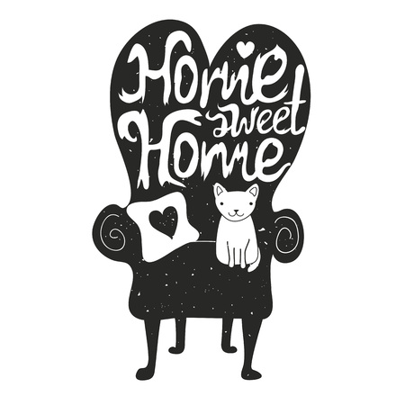 Home sweet home. Vector illustration with white cat sitting on black sofa. Vintage typography poster with trendy lettering inspiration quote