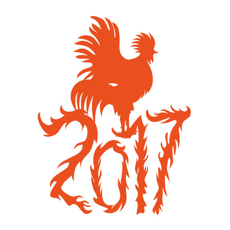 Chinese new year. Rooster symbol logo for eastern calendar. Monochrome holiday poster