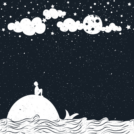 Cute romantic vector illustration with Inspiration dreamland typography poster. Moon, starry night, sea and clouds.
