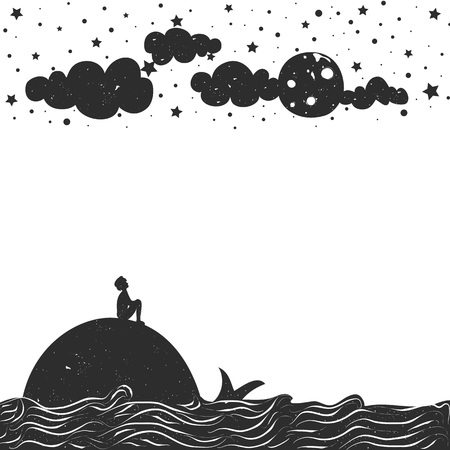 Cute romantic vector illustration. Inspiration typography poster. Moon, stars, sea and clouds. Vettoriali