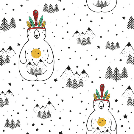 Vector stylish cartoon seamless pattern. Illustration with bear, pine trees and mountains. Doodle style print design, cute childish background