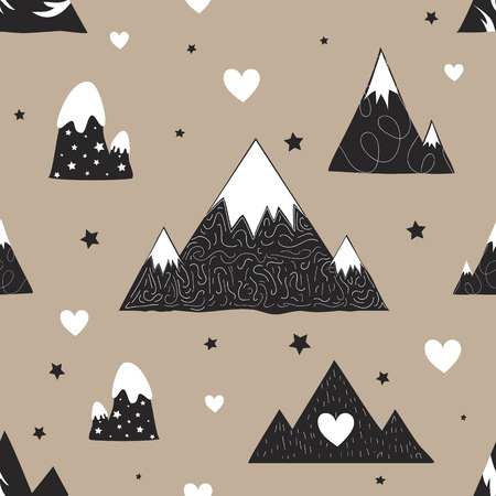 Doodle style print design with mountains, childish background 일러스트