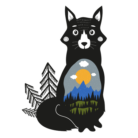 Vector illustration with cute fox, blue mountains, black pine forest, green hills, clouds, sun and snow. Inspiration adventure poster about nature with animal Illustration