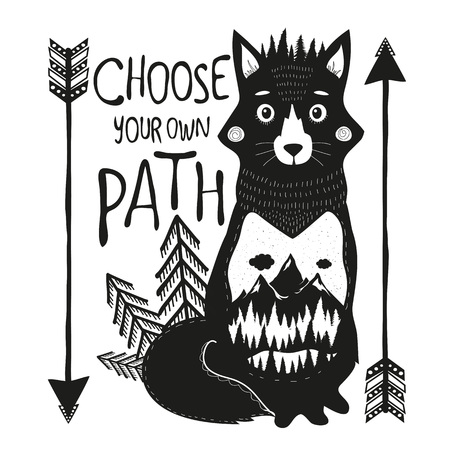 Vector illustration with fox and lettering text - Choose your own path. Concept art about nature Inspiration typography