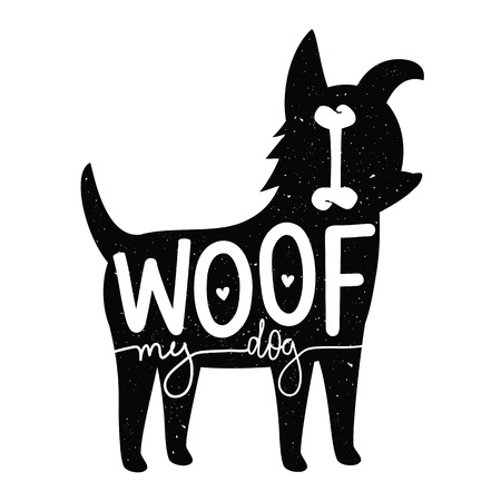 Vector illustration with dog silhouette and funny lettering text - I woof my dog. Trendy print design, home decoration poster Ilustração