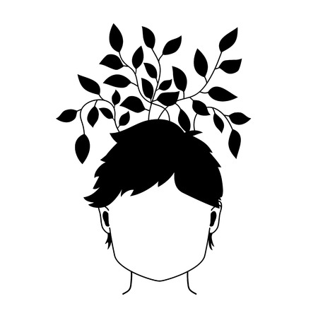 Vector black and white illustration with women head and plant with leaf growing from her hair