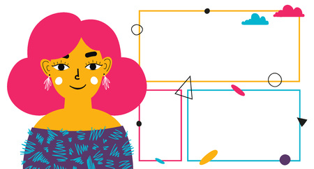 Vector illustration with girl hair and flat geometric elements. Stock Illustratie