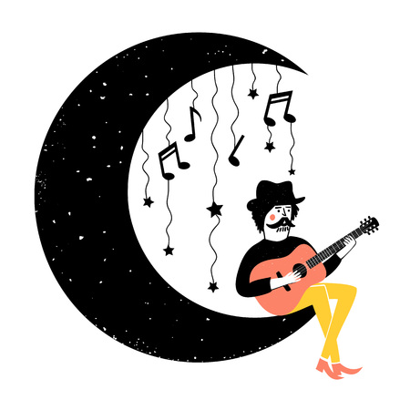 Stampa colorata con uomo, luna nuova e strumento musicale Vettoriali