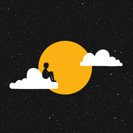 Vector illustration with young man black silhouette sitting alone on the white cloud. Dreams, loneliness concept Ilustrace