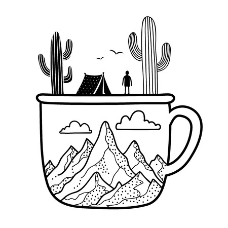 Cup, cactuses, tourist tent, mountains, birds, clouds and man silhouette Ilustrace