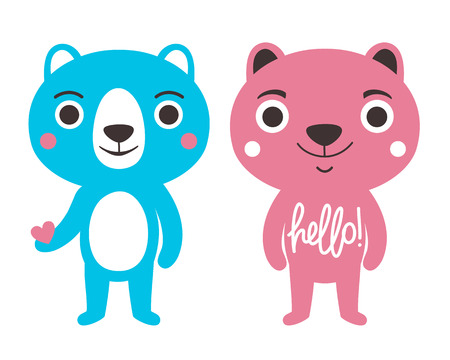 Bears with lettering word Hello. Childish apparel print design, home decoration typography poster Ilustrace
