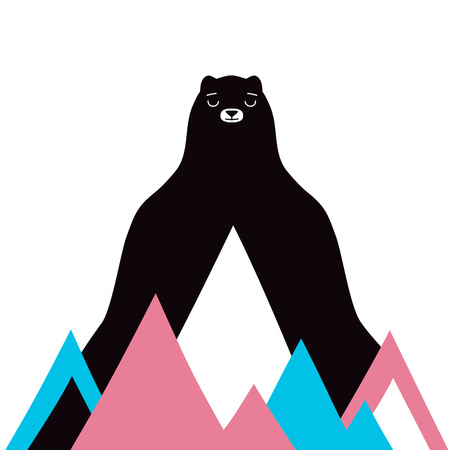 Bear with colored mountains. Nature conservation ecological concept