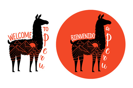 Llama set with lettering text - welcome to Peru. Typography posters with mountain landscape