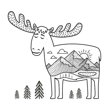Vector illustration with hand drawn doodle style moose with outdoor landscape. Inspirational print design with animal