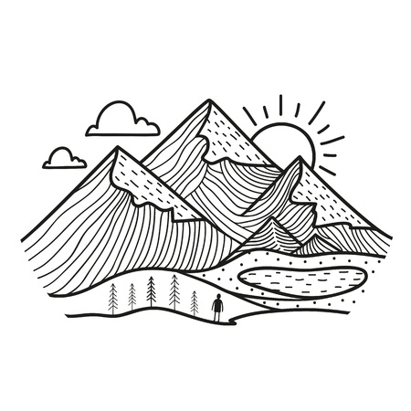 Vector illustration with hand drawn style mountain landscape with pine trees and lake, clouds and sun, human silhouette