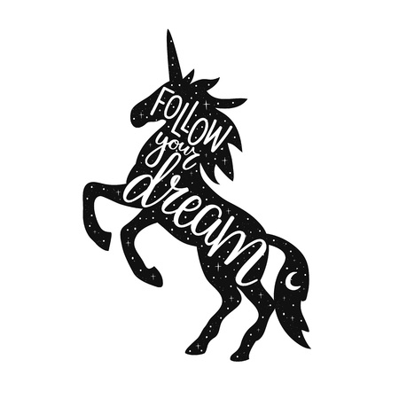 Follow your dream lettering poster with jumping unicorn