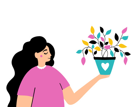 Vector illustration of a woman with hair and plant. Ilustrace