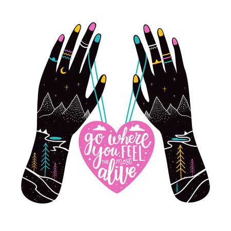 Pink heart, hands with heart lettering Ilustrace