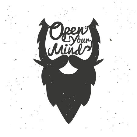 Cartel de tipografía de vector dibujado a mano con cabeza de hombre barbudo. Abre tu mente. Ilustración inspiradora y motivadora.