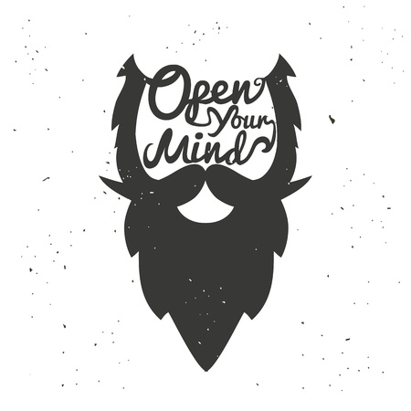 Vector hand drawn typography poster with bearded mans head. Open your mind. Inspirational and motivational illustration Ilustrace