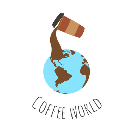 Coffee and earth planet. Coffee world text