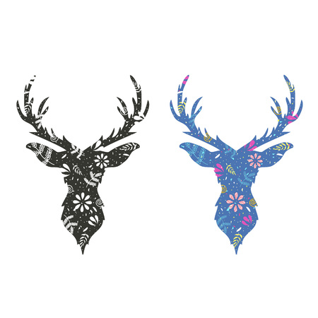 Monochrome and colored deer heads
