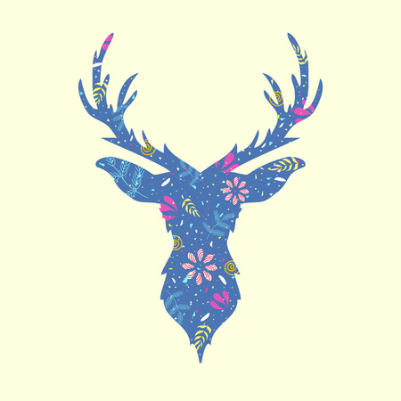 Trendy vector illustration with deer head with floral pattern