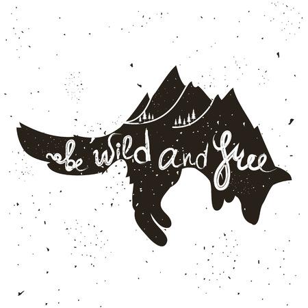 Illustrazione in stile hipster ispiratrice e motivazionale con volpe e scritte