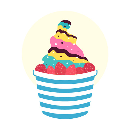 Summer vector print design, tasty food illustration with ice cream