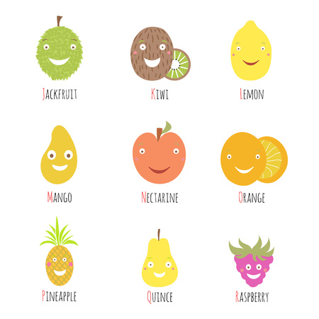 Funny food cartoon fruit and berries