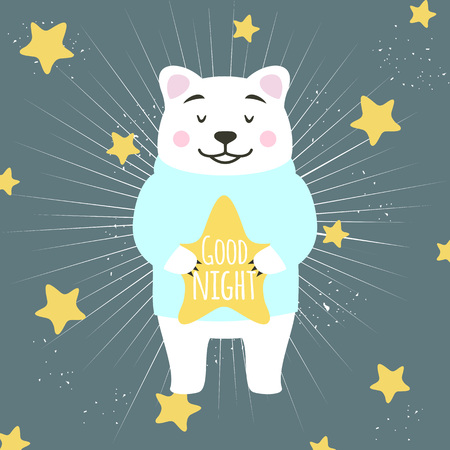 Vector illustration. Cute cartoon white bear holding star and wishing good night. Yellow stars on the background
