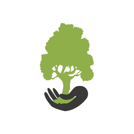Vector illustration with hand holding green tree. Ecological concept of saving plants, forests